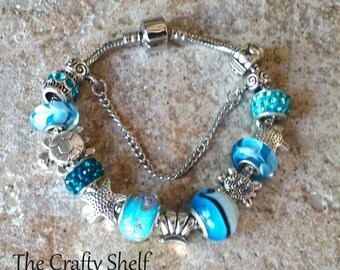 Sea Turtle/Ocean Style Silver Bracelet With Brilliant Blue Glass Beads