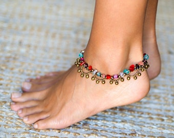 Ankle Bracelet // Boho Anklet // Bells Anklet // Beach Anklet // Rainbow Anklet // Oriental Anklet // Women Anklet // Women Foot Jewelry