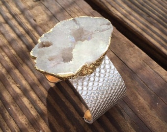 White Druzy Statement Cuff