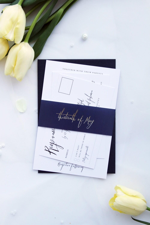 Modern Calligraphy Wedding Invitation Sets Modern Navy Blue