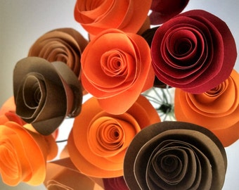 Fall Table Centerpiece - Autumn Paper Flower Bouquet Perfect Decor For Thanksgiving