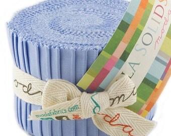 """SALE Bella Solids - Jr Jelly Roll - Moda - (20) 2.5"""" Strips - Periwinkle-Blue # 32"""