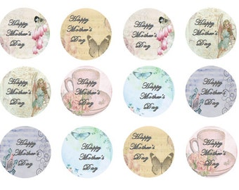 Mother's Day Cupcake Toppers, Edible Toppers, Vintage Style, Shabby Chic, Set of 12, Edible Icing, Edible Wafer