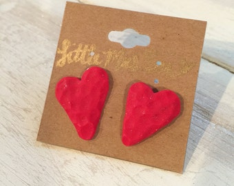 Clay Heart Stud Earrings