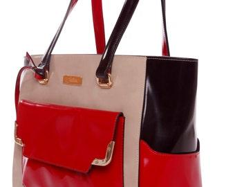 LA Fatima Trio Colors Leather/Bag/Oversize Tote Bag/Leather Bag/Large Leather Tote Bag/Made in Italy/Leather Work Bag/Handmade Leather Bag/