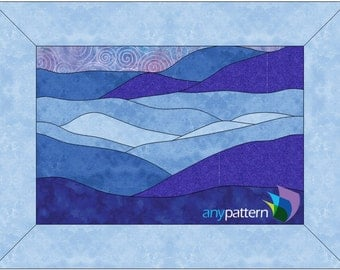 Blue Landscape Applique Quilt Pattern