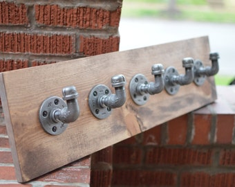 Industrial Coat Rack, Rustic Pipe Towel Rack, Jewelry Organizer, Scarf Organizer, Industrial Hooks