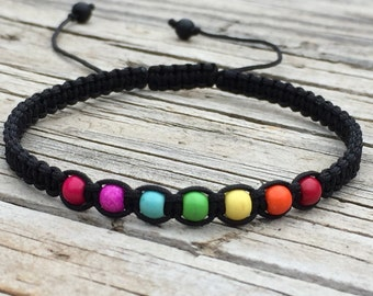 Rainbow Beaded Bracelet or Anklet, Adjustable Cord Macrame Friendship Bracelet, Pride Bracelet, Macrame Jewelry, Gift for Her, Rainbow