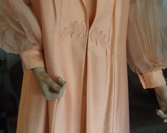 Vintage Alfred Werber 1970's peach dress and jacket