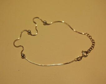 Vintage sterling silver anklet with extension