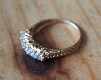 ON SALE-14k GOLD filagree design five stone ring-was 195