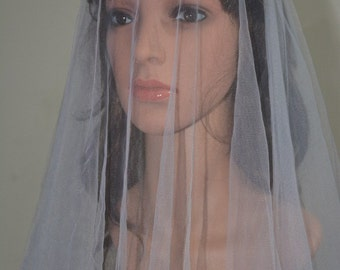DROP TULLE VEIL-Simple plain tulle veil-Fingertip length+elbow length tulle veil, 2 tiers plain tulle wedding veil