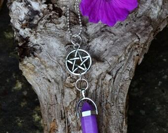 purple quartz necklace with pentagram charm