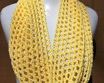 Crochet Scarf, Cotton Scarf, Summer Scarf, Lightweight Scarf, Yellow Scarf, Crochet Summer Scarf, Spring Scarf, Infinity Scarf, Summer Cowl