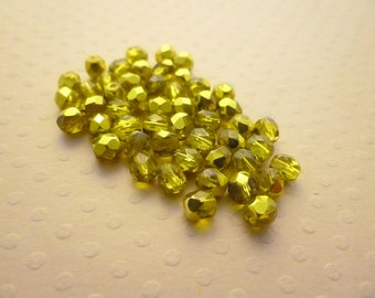 50 fire polished beads 4 mm Citron Metallic Ice