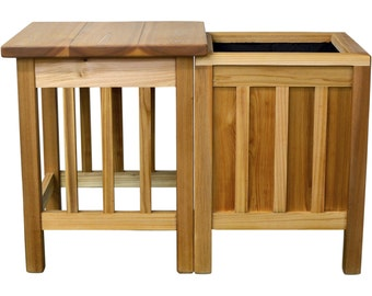 Indoor/Outdoor Red Cedar Side Table and Planter Combo