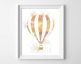 Hot-air balloon, illustration, art, colors, printed on paper 224g