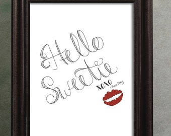 Hello Sweetie Handlettered Print, Doctor Who Art, Quote art, Wall Decor