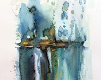 Painting abstract on paper blue green sea and golden. Expressionism abstract. Painting original.