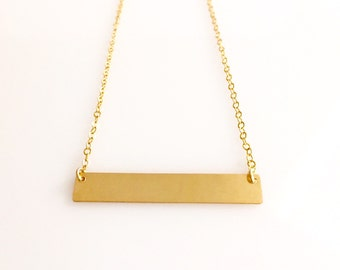 Bar Necklace/ Personalized Name Plate Necklace/ Gold, Silver, Rose Gold Bar Necklace/ Personalized Jewelry/ Stamped Necklace