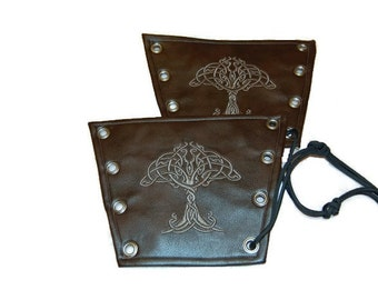 Brown Faux Leather Renaissance,Medieval, LARP,Cosplay,Halloween,Fantasy Celtic Tree of Life Bracers