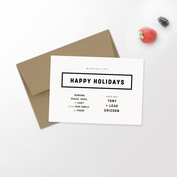 Modern Holiday Typography Card   Minimalist Holiday   Hipster Christmas   Newlywed Christmas   Happy Holidays   Christmas Card   Custom Card