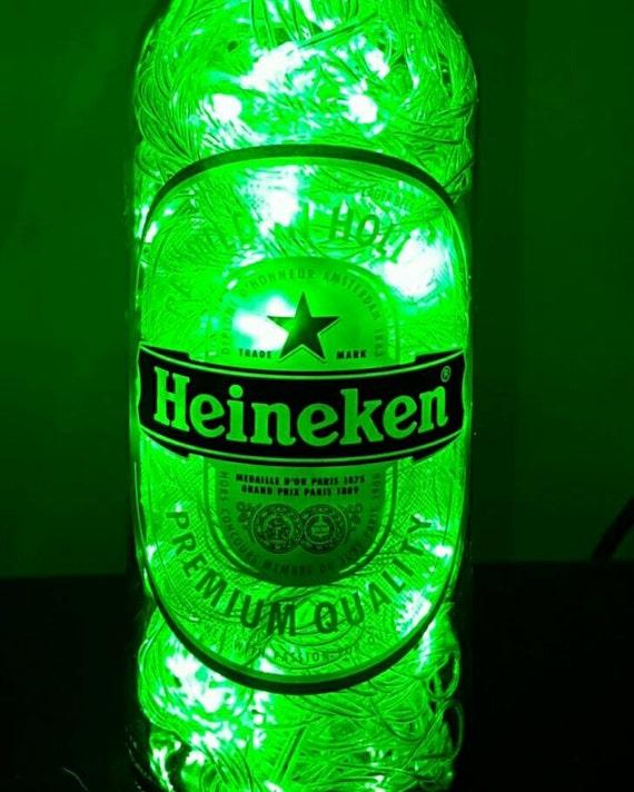 Handmade Green LED 8-Mode Heineken Beer Bottle Lamp