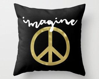 Imagine Pillow - Peace Sign Pillow - Gold Pillow - Black and White Pillow - Modern Decorative Pillow - Velveteen Pillow Cover - Gifts Ideas