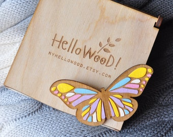 Wooden Butterfly Brooch in Wooden Box