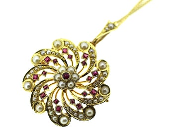 15ct Edwardian Ruby and Seed Pearl Pendant