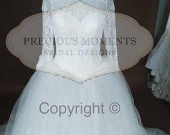 Lace of the shoulder Wedding Dress