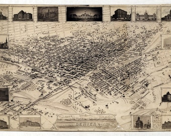 1881 Panoramic Map of Denver Colorado