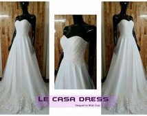 Real Photo Wedding Dress, White Simple A Line Princess, Tulle Ball gown Bridal Dress. Code LWD005MT