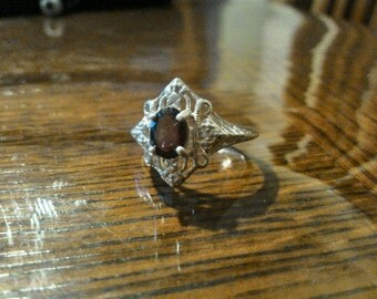 1970s Sterling Silver/Garnet Art Deco Style Ring