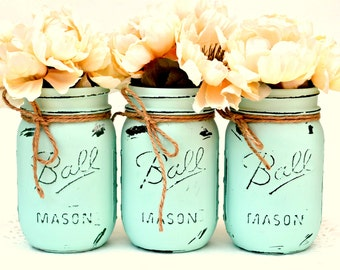 Mint Mason Jars, Mason Jar Decor, Mason Jars Bulk, Painted Jars, Dorm Decor, Soring Decor, Spring Centerpiece, Spring Wedding, Wedding Decor