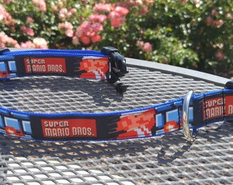 Old school Mario gaming dog collar