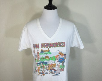 80's v-neck 100% cotton san francisco t-shirt size XL made in usa