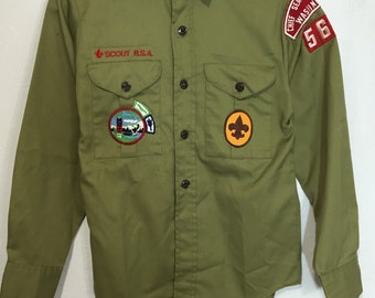 70's boy scouts official shirt with patches button up