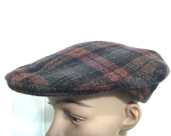 70's wool newsboy cap plaid made in ireland hat mens size 7 3/8 euro vintage