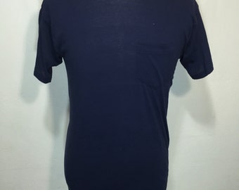 80's pocket t shist 50/50 blend navy blue