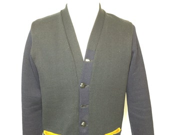 50's vintage wool two tone cardigan navy blue sweater mens