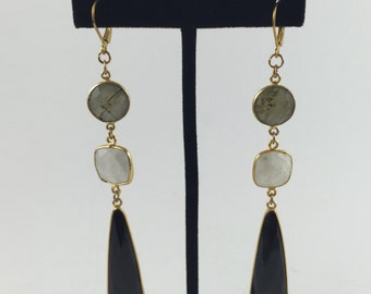 Bezel Link Earrings