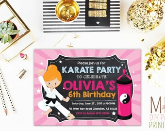 Karate Birthday Party Invitation,Karate Birthday Invitation, Tae Kwon Do Birthday Invite,Chalkboard Karate invitation,Girl Karate invite