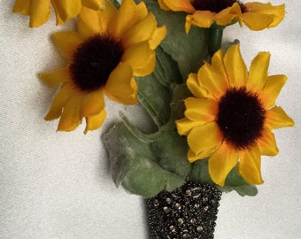Sunflower boutonnière', groom boutonnière', pewter boutonnière, lapel pin, sunflower boutoneer for wedding