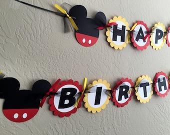 Mickey Mouse Birthday, Mickey Mouse Birthday Decoration, Mickey Mouse Party Decorations, Mickey Mouse Banner, Mickey Mouse Birthday Banner