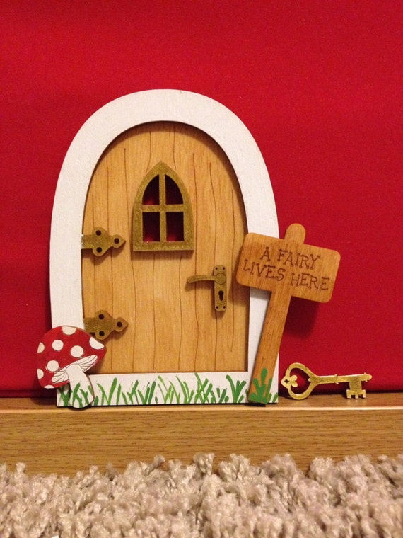 Fairy door handmade wooden painted white green gold with for Fairy door with key