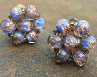 Vintage blue clip on Sommerso earrings