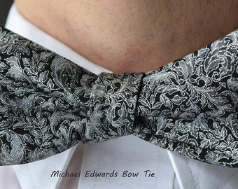 Black Silver Metallic Self Tie Bowtie,  Wedding Bow Tie