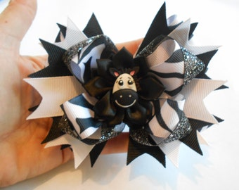 Zebra Hair Bow, Boutique Stacked Hair Bow, Zebra Bow,Hair Bow,Zebra Boutique Bow, Boutique Stacked Bow, Girls Hair Bow, Zebras