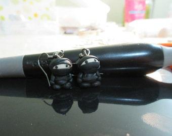 ninja earrings in polymer clay -  sneaky little guys dressed in black